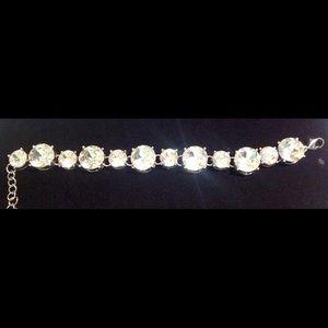 Ladies Silver Flawless Clear Stone Bracelet!